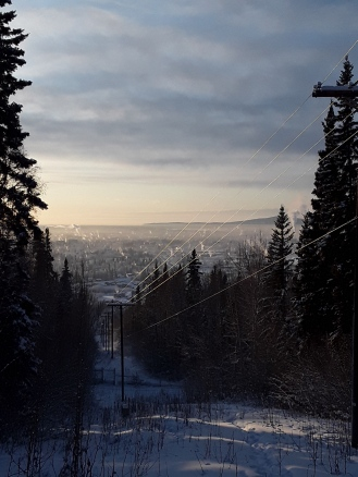 View of Fairbanks from Birch Hill ski trails. Note the smoke coming out of everything.